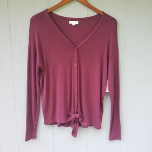 14th and Union Tie Hem Button Front Top NWT XS